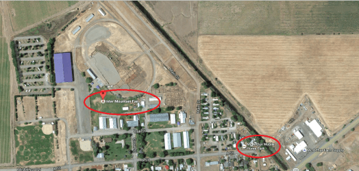 Overhead view showing the Inter Mountain Fair where the burglary occurred and the McArthur Mobile Home Park, where the suspect, Matthew Davis was located.