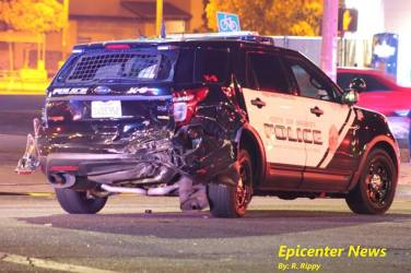 The smashed rear-end of the K9 patrol vehicle following Thursday's accident. Epicenter News photo