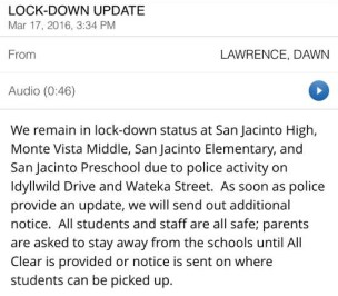 As the incident and investigation continued, the SJUSD sent out this message for concerned parents