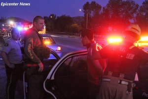 The driver of the stolen car had complaint of pain following the fiery wreck. He was transported to a local area hospital. William Hayes / Epicenter News