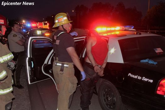 The alleged driver of the stolen Honda was transported to a hospital after the fiery wreck. William Hayes / Epicenter News