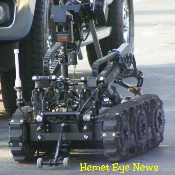 Riverside County Sheriff department's Hazardous Device Team assisted Hemet Police in investigating the suspicious looking device that turned out to be drug related paraphernalia. Ricardo Ruelas / Hemet News