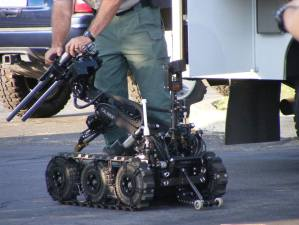 A robot used by Riverside County Sheriff Hazardous Device Team members is prepared to inspect the suspicious device. Ricardo Ruelas / Hemet News photo
