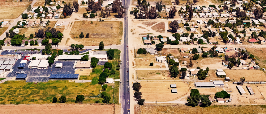 Northbound aerial view of Winchester Road Where day's accident occurred. Winchester elementary School can be seen on the left side of image.