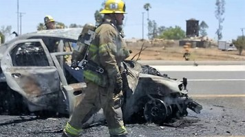 Firefighters quickly controlled the blaze; however an elderly male reportedly died in the fiery wreck.