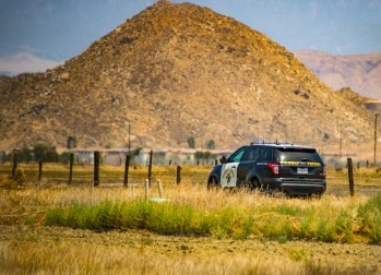 CHP and Hemet Police officers assisted during the hours long stand-off. John Strangis photo