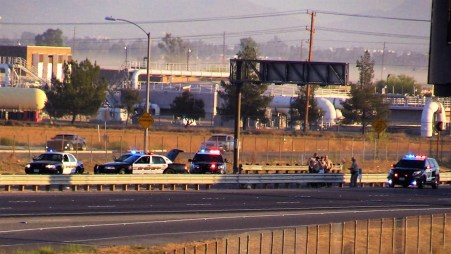 All north and southbound lanes of the 215 freeway and the Ethanac Road overpass have been closed. Miguel Shannon photo