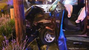 The Ford truck sustained moderate amage in the accident. William Hayes photo