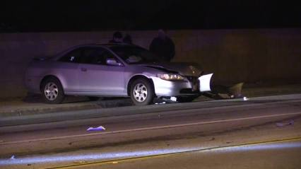 A Honda Accord that was struck head on was nearly forced into a brick wall after being struck. William Hayes photo