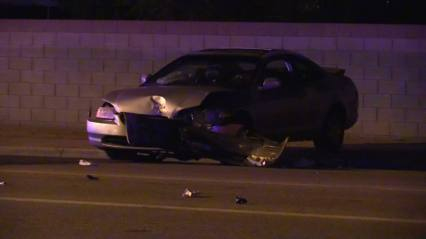 A 2-door, silver Honda Accord was struck head on by the fleeing suspect. William Hayes photo