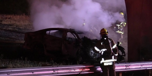 EASTVALE: Driver killed in fiery wreck after car hits concrete overpass pillar