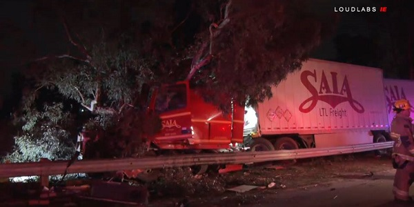FONTANA: Sleeping passenger killed when big-rig plows into guardrail, trees on I-10