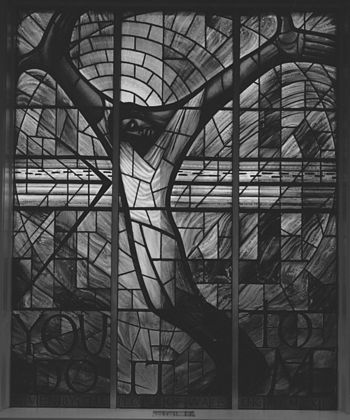Stained glass window at the 16th Street Baptis...