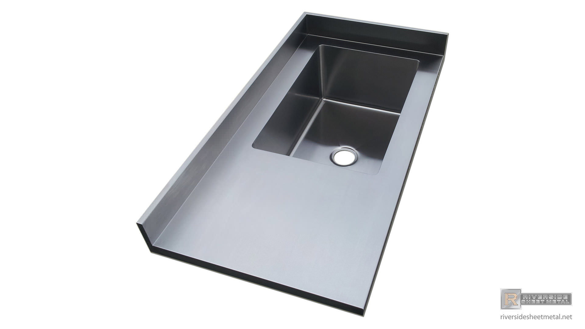 Stainless Steel 4 Finish Counter Top With Integrated Sink