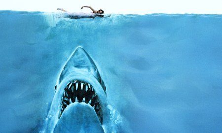 The classic poster image from the first release of the film Jaws.