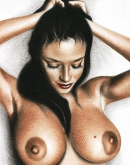 black-haired-nude-woman-oil-painting-titled-beautiful-woman