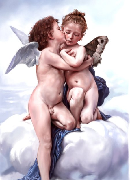 First_Kiss___Bouguereau_by_l0ne_star