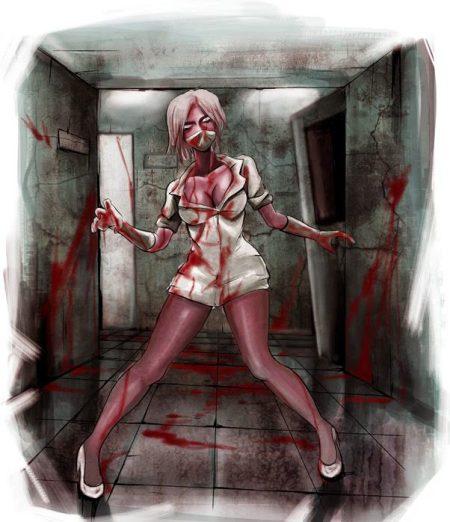 007 sexy zombie nurse art horror monster illustration c