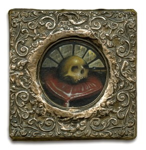 reliquary-kurt-wiscombe-2010-acrylic-on-paper-in-antique-frame-11x11-cm-including-frame