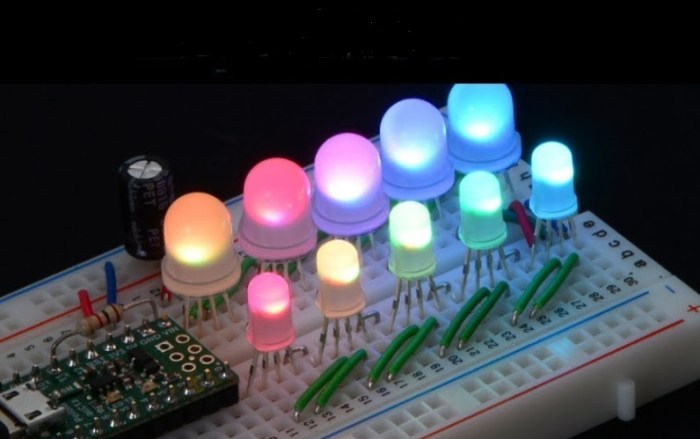 Gambar warna-warni lampu LED