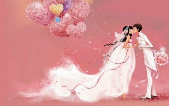 Ilustrasi cerita pernikahan romantis