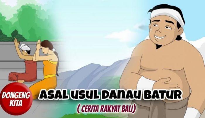 Ilustrasi gambar cerita rakyat Danau Batur