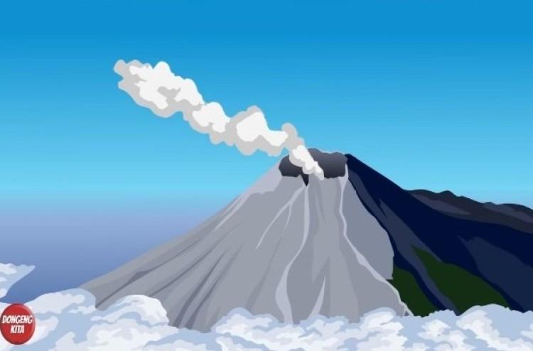 Ilustrasi cerita rakyat Gunung Krakatau
