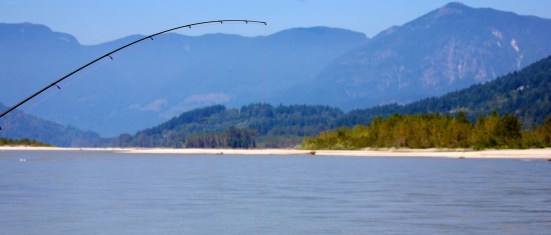 fishing pole hanging over a river with mountains in background