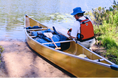 The author loading the Sprit II for a canoe camping adventure.