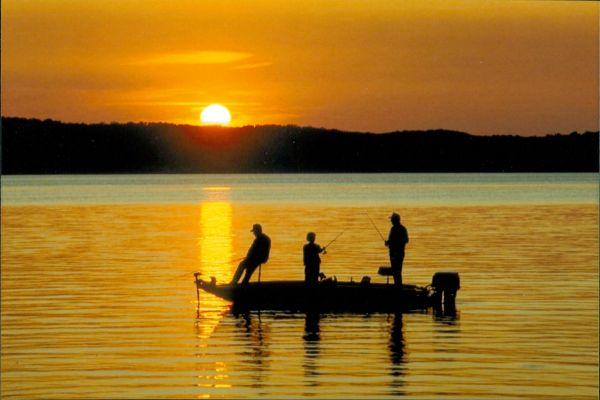 A fishing scene in the Atchafalaya Swamp Basin.