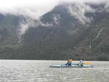 Kayaking across the lake.