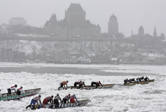 Ice Canoeing In Quebec