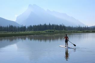 Paddling on the First Vermillion Lake, Banff National Park