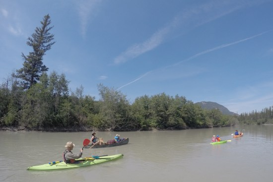 family kayaking the Columbia River, Canada