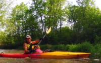 mom and daughter in kayak