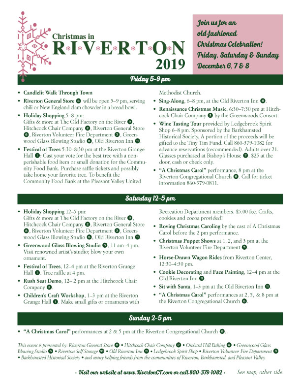 Christmas in Riverton Itinerary 2019