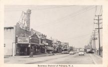 Business District of Palmyra, N.J., Broadway Theater marquee at left 1954