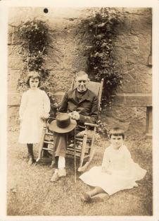 James Lawrence Sutton age 81 years, (father-in-law of Ezra), Alice Lippincott age 9 right, and Edith Skipwith Coale age 7 left photo taken 1887 at home of Ezra Lippincott