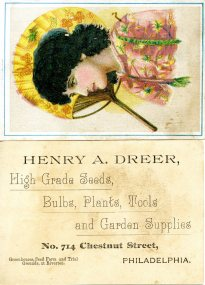 Henry A. Dreer trade card, front and back
