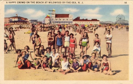 A Happy Crowd on the Beach at Wildwood-by-the-sea, NJ 1948