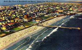 Bird's Eye View of Boardwalk and Beach, Ocean City, NJ