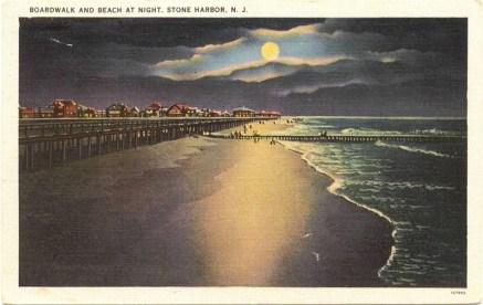 Boardwalk and Beach at Night, Stone Harbor, NJ