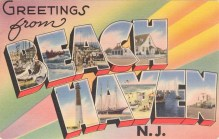 Large Letter Greetings from Beach Haven, NJ 1958