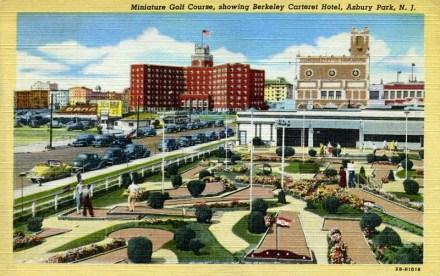 Miniature Golf Course, showing Berkeley Carteret Hotel, Asbury Park, NJ 1947