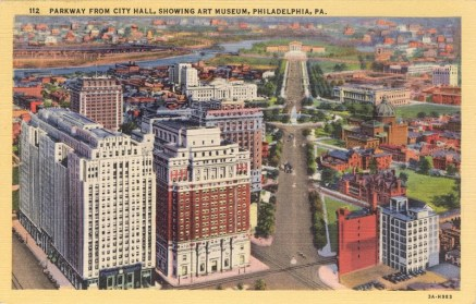 Parkway from City Hall, Showing Art Museum, Philadelphia, PA 1950
