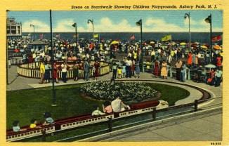 Scene on Boardwalk Showing Children's Playgrounds, Asbury Park, NJ