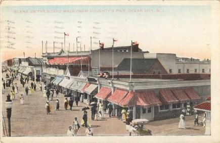 Scene on the Boardwalk from Doughty's Pier, Ocean City, NJ 1922