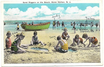 Sand diggers on the Beach, Stone Harbor, NJ, July 9, 1935