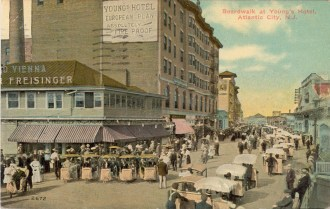 Boardwalk at Young's Hotel, Atlantic City, NJ 1912