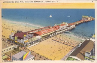 View Showing Steel Pier, Ocean and Boardwalk, Atlantic City, NJ